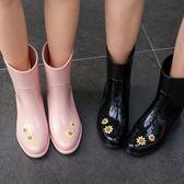 店長推薦▶向日葵雨靴女成人韓國時尚雨鞋可愛中筒水鞋夏季防滑水靴潮