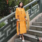 大尺碼洋裝民族風棉麻連身裙拼接貼布長裙文藝復古亞麻女 限時降價