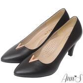 Ann'S職人端莊-頂級小羊皮金屬V口尖頭高跟鞋-黑
