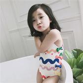 兒童泳衣 女童泳衣兒童1-2-3歲4小孩幼兒小童蝴蝶結波浪女孩泳裝寶寶游泳衣
