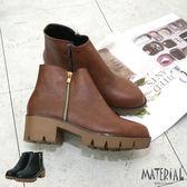短靴 簡約裝飾側拉鍊短靴 MA女鞋 T7230