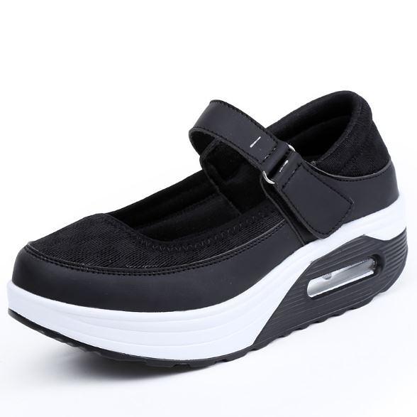 韓版百搭輕盈活力魔鬼氈氣墊休閒鞋 瑪莉珍鞋 皮面厚底內增高鞋氣墊鞋運動鞋4色