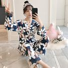 ★依咨戀小舖★睡衣女春秋季莫代爾長袖日式套裝甜美日系和服繫繩睡衣家居服棉