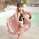 火烈鳥彩色亮片造型遮陽座圈 防曬戲水 泳圈 座圈 坐圈 水上用品 游泳圈 游泳 女童 橘魔法 現貨