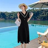 洋裝 V領遮肚肚顯瘦連身裙-媚儷香檳-【D1626】