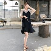 假兩件洋裝大碼女裝連身裙2020新款夏季雪紡胖mm洋氣減齡顯瘦遮肚黑色假兩件618購