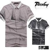 『潮段班』【SD031795】幾何線條拼接撞色立領POLO衫 短袖T恤上衣