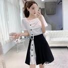 套裝女新款夏季皺褶設計感襯衫連身裙 開口半身短裙子兩件套 范思蓮恩