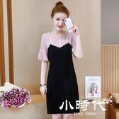 大碼短袖洋裝 蕾絲拼接連身裙夏裝新品喇叭袖中長款裙子