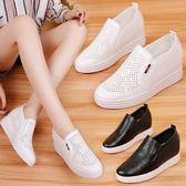 韓版時尚內增高平底鞋鏤空小白鞋套腳懶人鞋女鞋