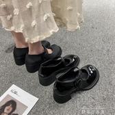 娃娃鞋春款復古粗高跟瑪麗珍大頭鞋女網紅同款學院風小皮鞋娃娃單鞋 雙十二免運