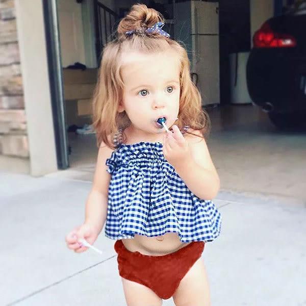 ins 藍色 格子 吊帶 平口 上衣 無袖 背心 格紋 小洋裝 T 歐美 童 NXS