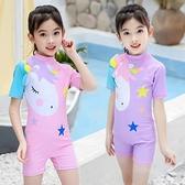 風兒童游泳套裝帶帽子3-11歲兒童泳衣女童連體小童 中大童 快速出貨