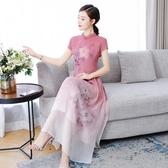 降價兩天 長款旗袍2020春夏季新款女改良版中國風端莊大氣優雅顯瘦宴會旗袍