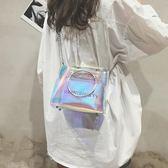 果凍包夏天透明包包女新款鐳射仙女斜挎鏈條液體honey蹦迪包【七七特惠全館七八折】