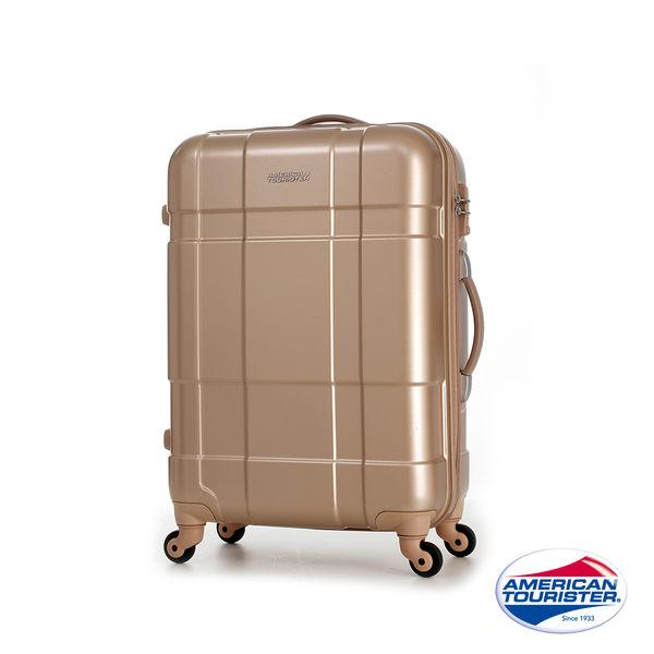 AT美國旅行者 25吋VENTURA PC立體方格TSA硬殼四輪拉桿行李箱(香檳金)