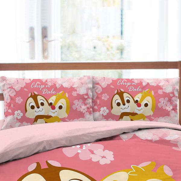 床包被套組 / 雙人加大【迪士尼奇奇蒂蒂-粉紅季系列】含兩件枕套 高密度磨毛 戀家小舖ABF312