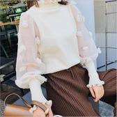 2018 新款 女裝 韓版 荷葉領 網紗 針織衫 長袖 上衣