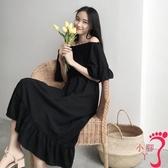 一字領洋裝 復古港味chic韓版一字領露肩短袖荷葉裙女高腰黑色中長款連衣裙子