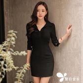 洋裝 秋冬女連身裙韓版氣質V領褶皺修身長袖襯衫式包臀打底裙