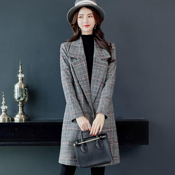 毛呢外套  秋冬新款韓版復古大碼中長款毛呢外套女格子呢子大衣
