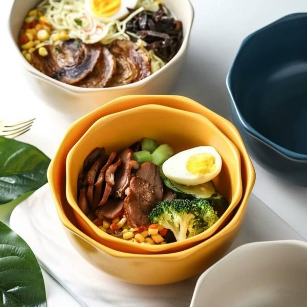 原點居家創意 簡棱系列 6.25吋 十角邊飯碗 湯碗 陶瓷碗 麵碗 三色任選
