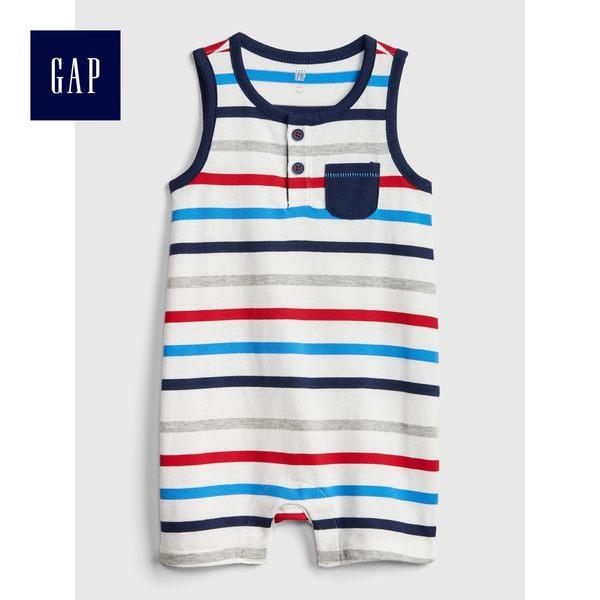 Gap男嬰兒 柔軟條紋亨利式無袖一件式包屁衣 468203-光感亮白
