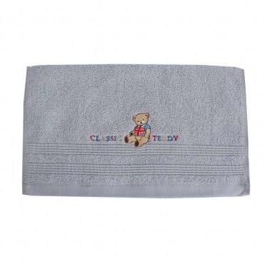 Classic Teddy精典泰迪-泰迪彩字素面毛巾(藍)