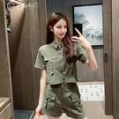 套裝兩件套洋氣氣質歐貨女套裝21年夏季棉感工裝風襯衫闊腿短褲 快速出貨