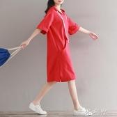 微胖女裝大碼夏新款森女系文藝寬鬆百搭連帽短袖中長款衛衣連身裙