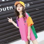 女童洋氣t恤新款韓版寬鬆短袖夏裝兒童中長款純棉半袖上衣潮 米希美衣