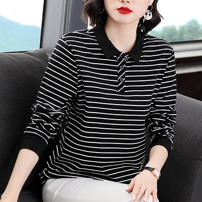 快速出貨 T恤POLO領條紋休閒寬鬆長袖打底衫大碼女裝有領上衣t恤裝翻領【2021新年鉅惠】