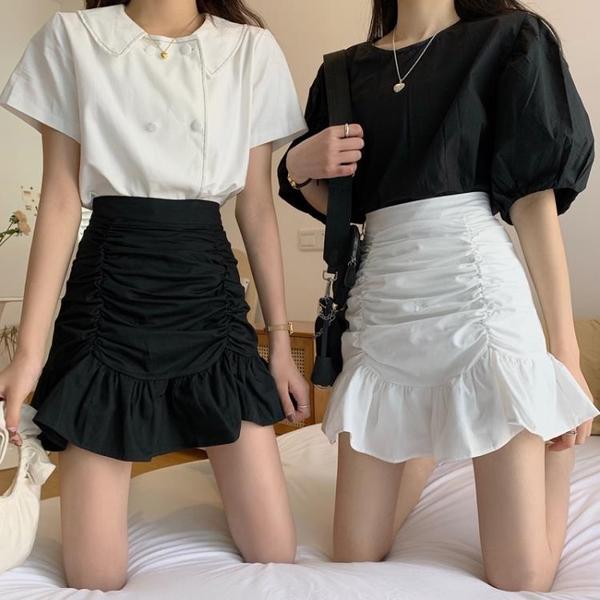 短裙 魚尾裙半身裙女春季2021新款高腰A字短裙褶皺包臀荷葉邊白色裙子