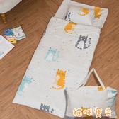 100%精梳純棉冬夏兩用多功能加大版兒童睡袋【貓咪寶貝】