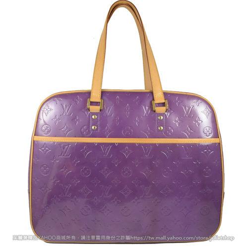 茱麗葉精品 二手名牌【9.5成新】Louis Vuitton LV VERNIS 全亮皮旅用大肩背包.紫