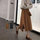 PUFII-中長裙 側開衩鬆緊腰針織中長裙 2色-1115 現+預 冬【CP15571】