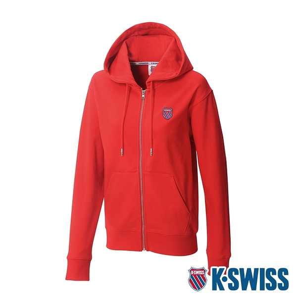 K-SWISS Court Hooded Zip-Up時尚連帽外套-女-紅