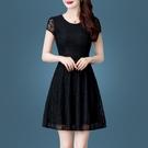蕾絲洋裝/連衣裙女2021夏季新款時尚黑色大碼短袖顯瘦氣質收腰夏 快速出貨