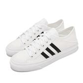 adidas 休閒鞋 Collapsible Nizza Lo 白 黑 帆布鞋 後跟可踩 愛迪達 三葉草 女鞋 【ACS】 H67375