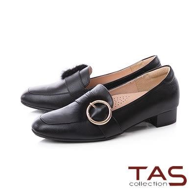 TAS金屬大圓貂毛飾扣素面樂福粗跟鞋-迷人黑