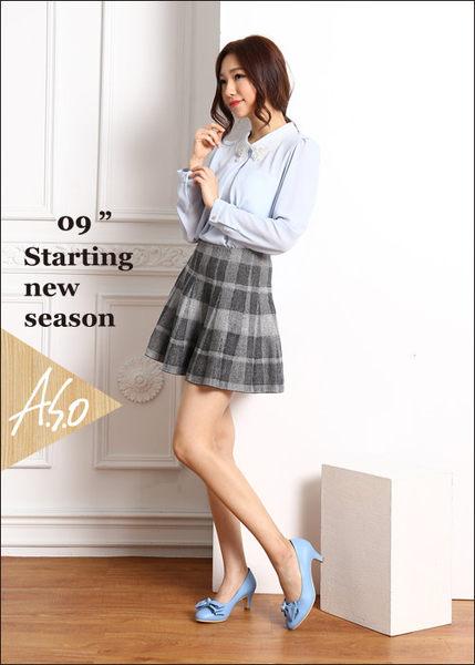 A.S.O 氣質名媛 全真皮雙蝴蝶結甜美高跟鞋  淺藍