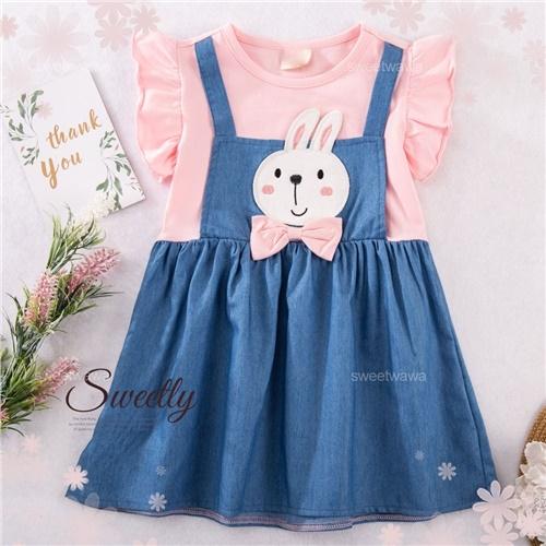 蝶結兔假兩件飛飛袖洋裝(290573)【水娃娃時尚童裝】