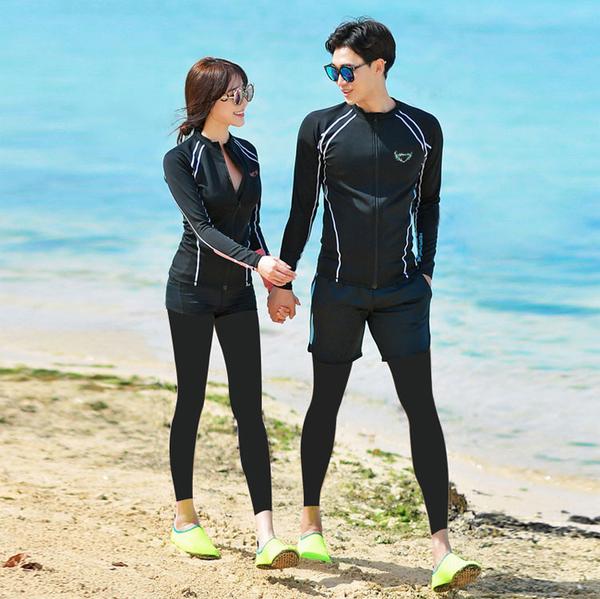 情侶男女韓國潛水服拉鍊分體長袖長褲游泳衣防曬速干水母衣浮潛服