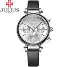 JULIUS 聚利時 LADY FIRST三眼設計皮錶帶腕錶-經典黑/34mm 【JA-958A】