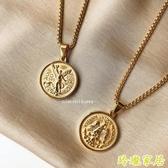鍍金項鍊 可沾水  鈦鋼鍍金 雙面浮雕 50比索金幣紀念錢幣 【免運】