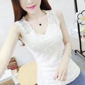 特賣新款韓版蕾絲背心女短款外穿寬肩吊帶打底衫修身顯瘦無袖上衣