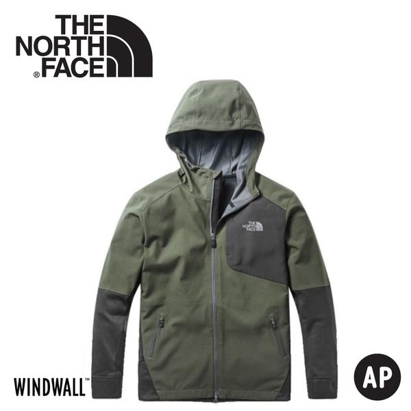 【The North Face 男 WindWall防風防潑軟殼外套《灰綠》】3RG1/軟殼夾克/連帽外套