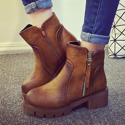 短靴皮靴LoVie美式西部渲染皮質拼接縫線拉鍊粗跟短靴皮靴休閒鞋【02S3210】