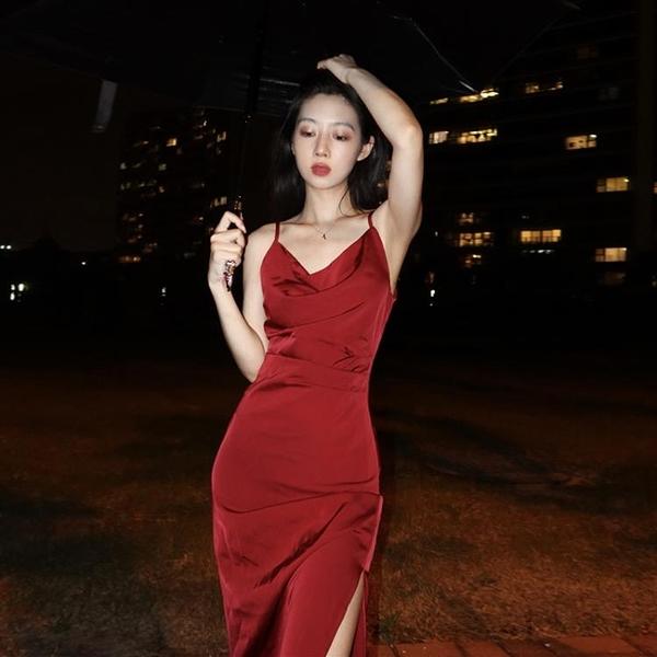 氣質吊帶法式紅色禮服裙子女春夏性感顯瘦洋裝打底開叉過膝長裙