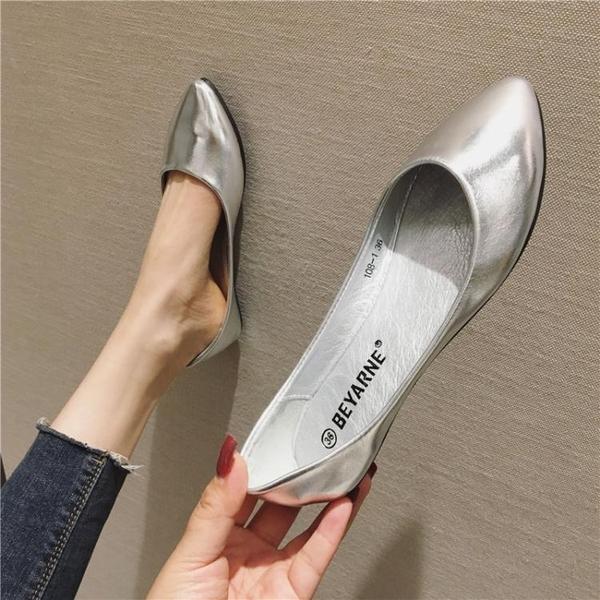 2021春季新款小碼銀色淺口單鞋軟底平底鞋女鞋尖頭大碼百搭船瓢鞋 伊蘿